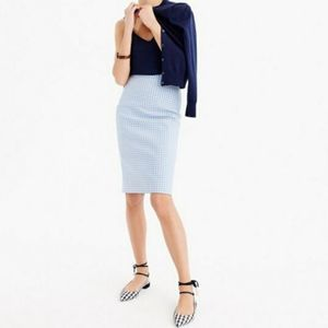 J. Crew No. 2 Pencil Skirt In Blue Gingham Size 6